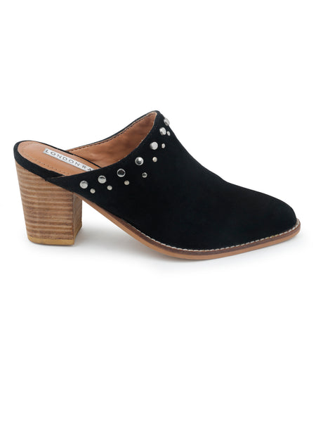Black Studded Stacked Heel Mules - London Rag India