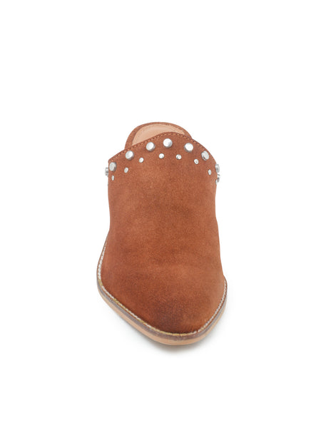 Tan Studded Stacked Heel Mules - London Rag India