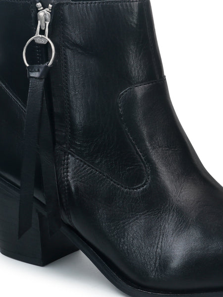 Black Ankle Boots With Zipper - London Rag India