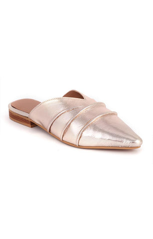 Golden Suede Melinda Toe Flat Mules - London Rag India