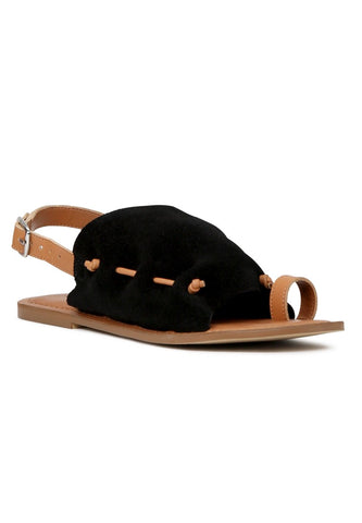 Black Suede Back Strap Fran Flat Sandal - London Rag India