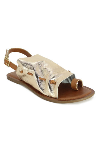 Metallic Golden Suede Leather Back Strap Fran Flat Sandal - London Rag India