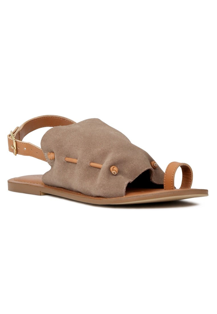 Taupe Suede Leather Back Strap Fran Flat Sandal - London Rag India