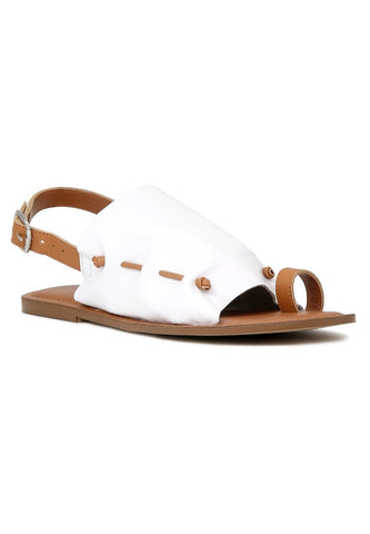 White Suede Leather Back Strap Fran Flat Sandal - London Rag India