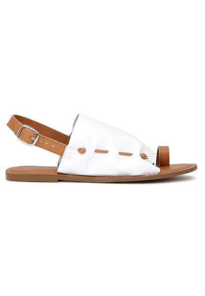 Women's White Suede Leather Back Strap Fran Flat Sandal - London Rag India
