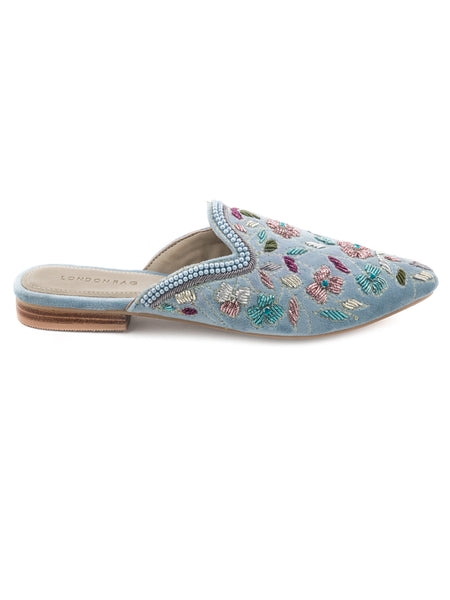 Blue Embroided Velvet Flat Mules - London Rag India