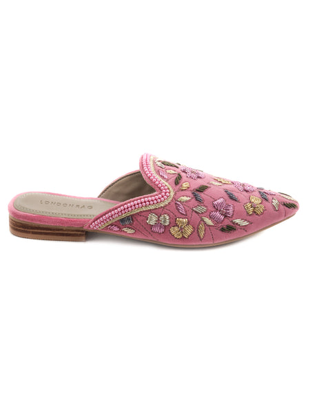 Pink Embroided Velvet Flat Mules - London Rag India