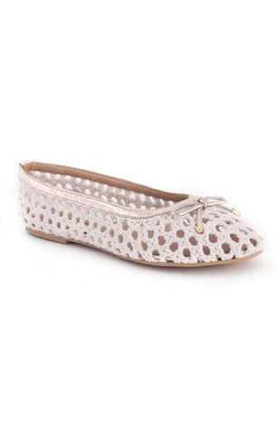 Women's Off White Cotton Mesh Brionna Flat Ballerinas - London Rag India
