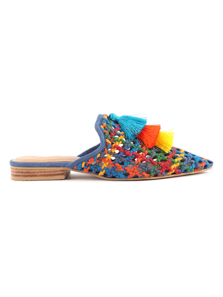 Multi Color Woven Up Miriam Flat Mules - London Rag India