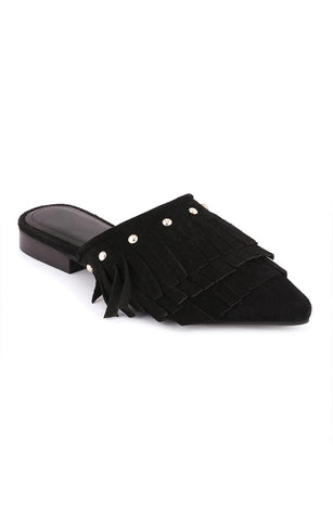Black Synthetic Pointed Toe Marissa Flat Mules - London Rag India