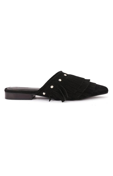 Women's Black Synthetic Pointed Toe Marissa Flat Mules - London Rag India