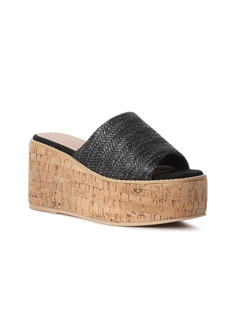 Black Raffia Slip-on Platform - London Rag India