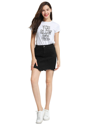 Black Raw Hem Ripped Denim Skirt - London Rag India