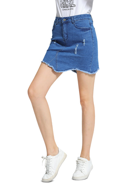 Blue Raw Hem Ripped Denim Skirt - London Rag India