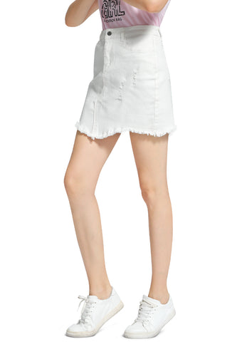 White Raw Hem Ripped Denim Skirt - London Rag India