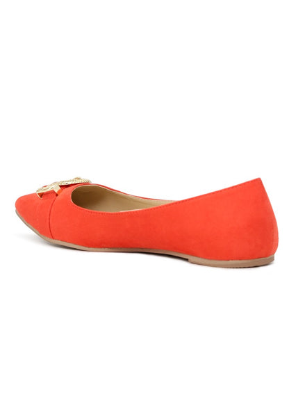 Womens Red Buckle Ballerinas - London Rag India