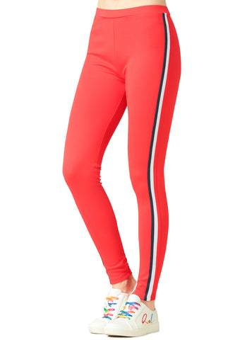 Red Striped Tape Side Leggings