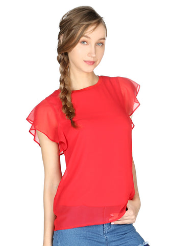 Red Short Flutter Sleeve Casual Top - London Rag India