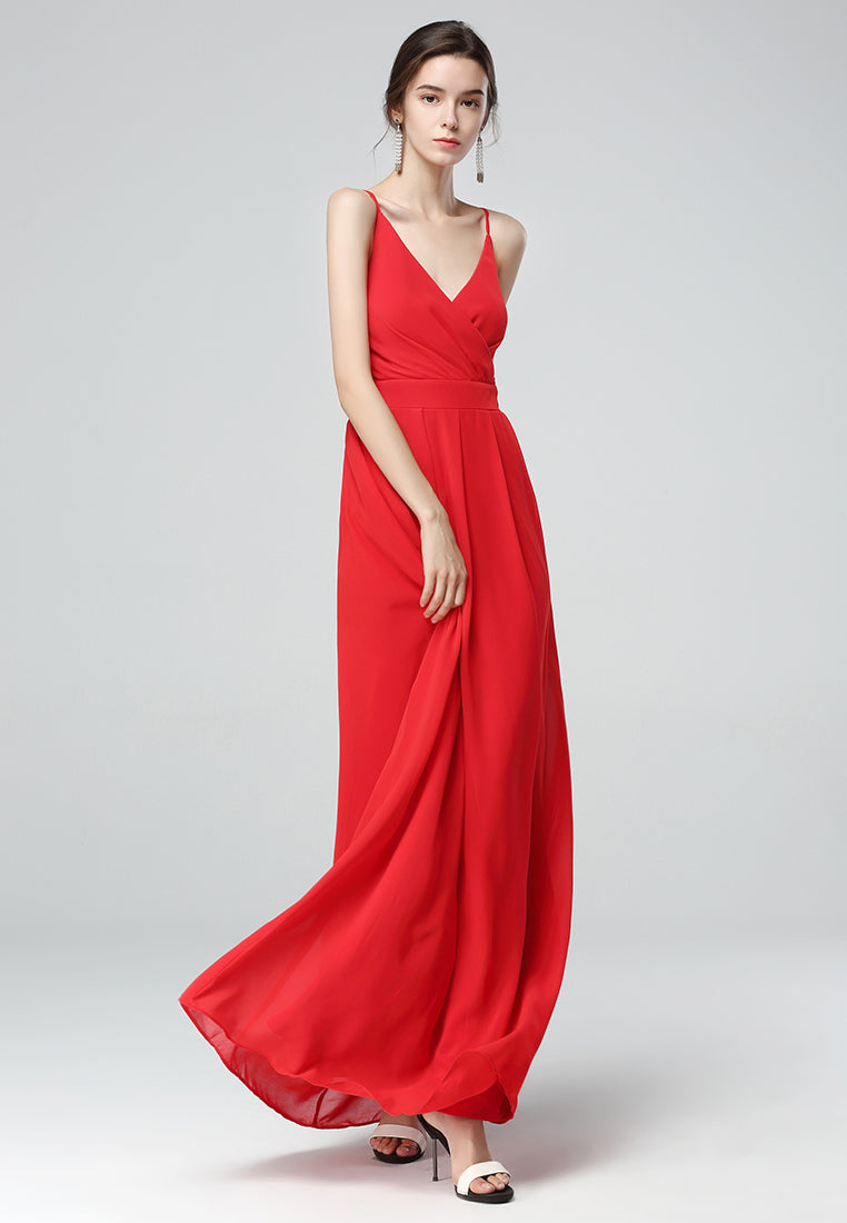 Red Spaghetti Chiffon Gown Dress - London Rag India