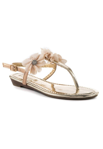 Womens Gold Ankle Strap Flat Toe Slip Ons - London Rag India