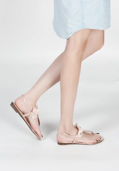 Gold Ankle Strap Flat Toe Slip Ons - London Rag India