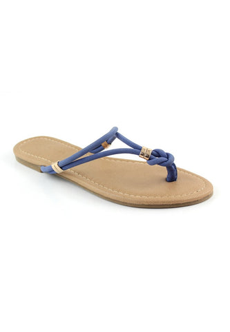 Womens Blue Thong Flat Flip Ons - London Rag India