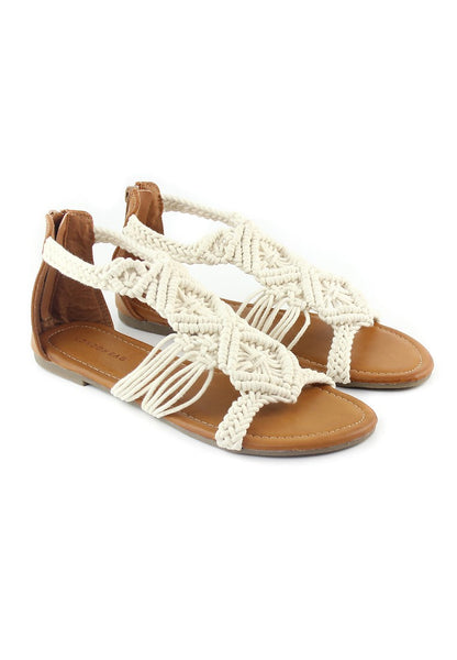 Womens Off White Flat Thong Sandals - London Rag India