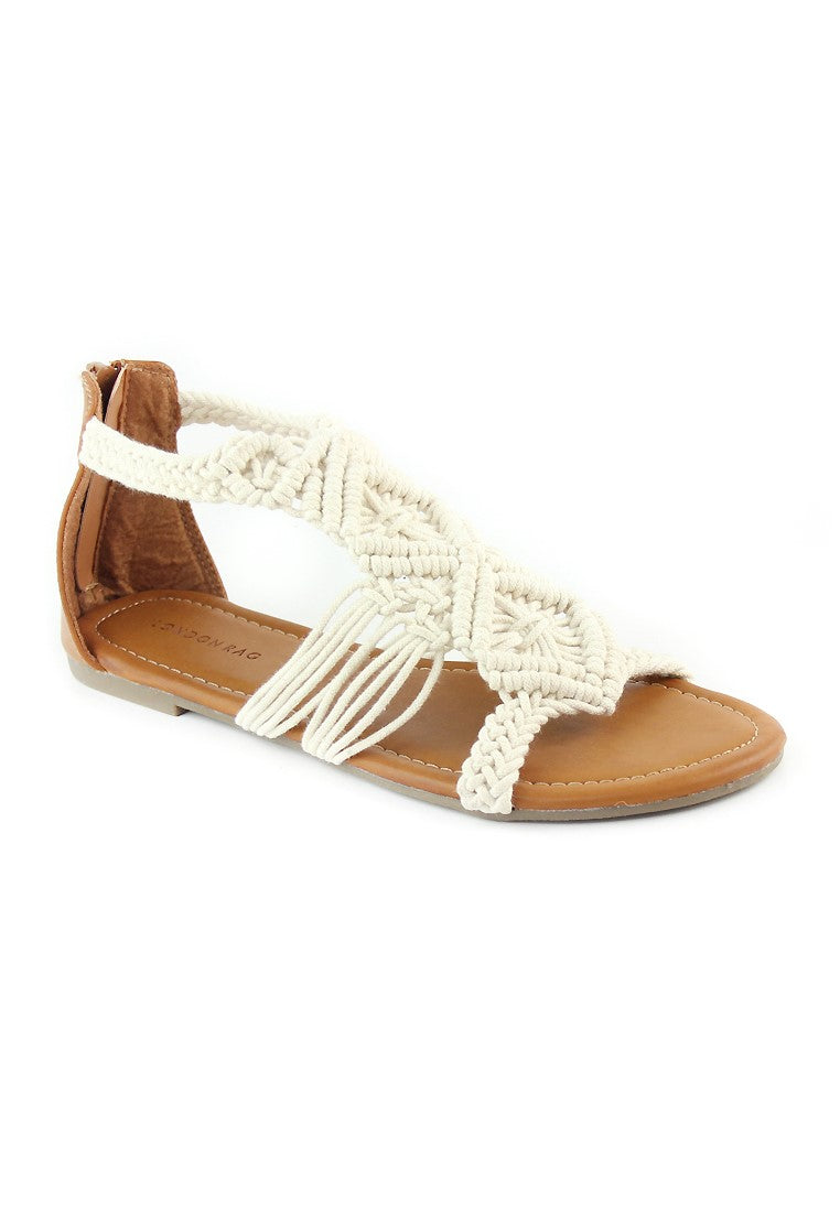 Womens Off White Flat Thong Sandals