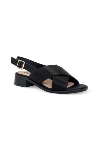 Black Cross Strap Slingback Sandals - London Rag India