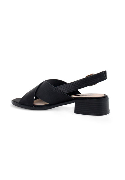 Womens Black Cross Strap Slingback Sandals - London Rag India