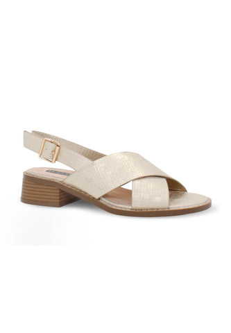 Womens Gold Cross Strap Slingback Sandals - London Rag India