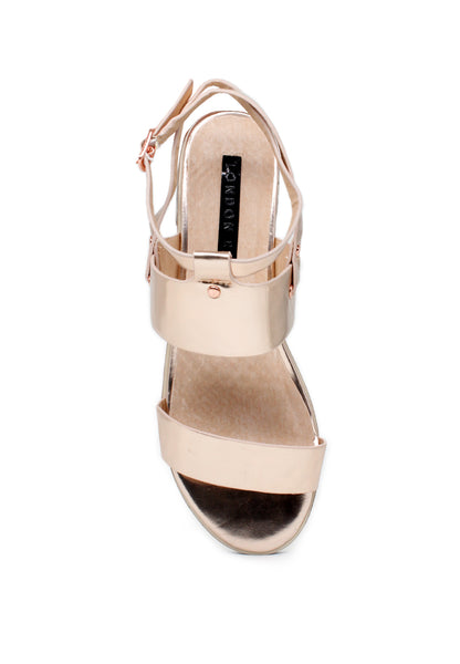 Rose Gold Ankle Strap Sandals - London Rag India