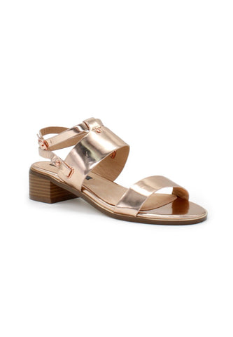 Womens Rose Gold Ankle Strap Sandals - London Rag India