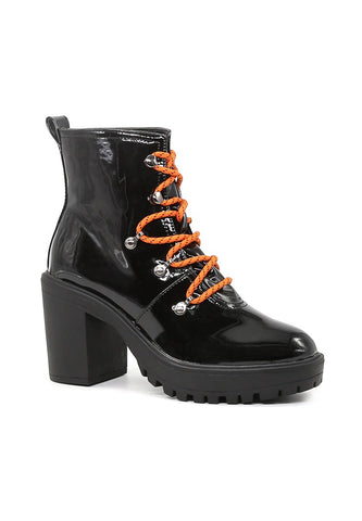 Women's Black Lace up Chunky Boots - London Rag India
