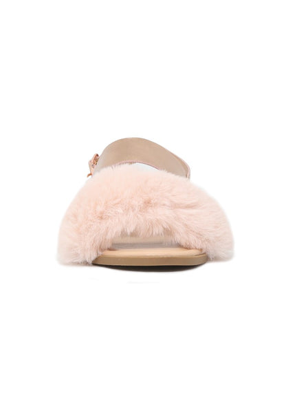 Women's Rose Gold Fur Double Strap Slingback Flat Sandals - London Rag India