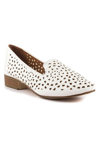Womens White Laser Cut Loafers - London Rag India