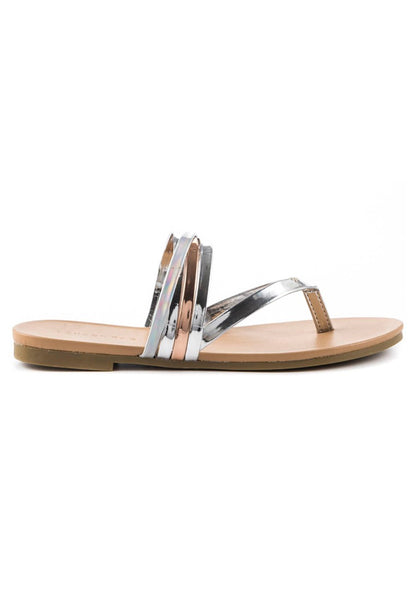 Silver Strappy Flat Thongs - London Rag India