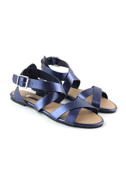 Womens Navy Flat Sandals - London Rag India