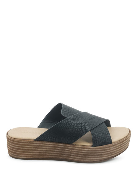 Black Cross Strap Flatform Sandals - London Rag India