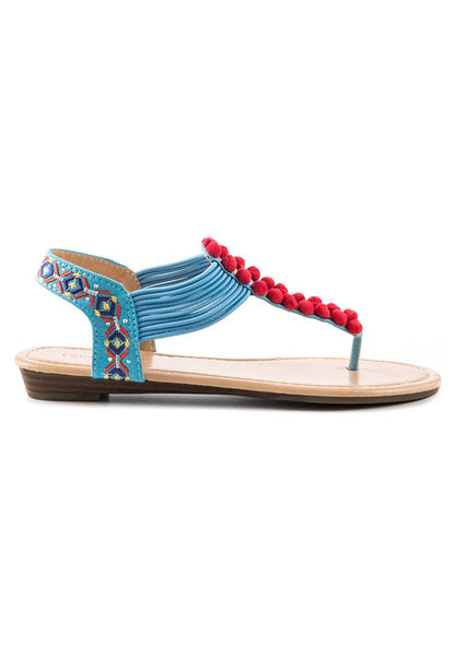 Womens Blue Flat Thong Sandal - London Rag India