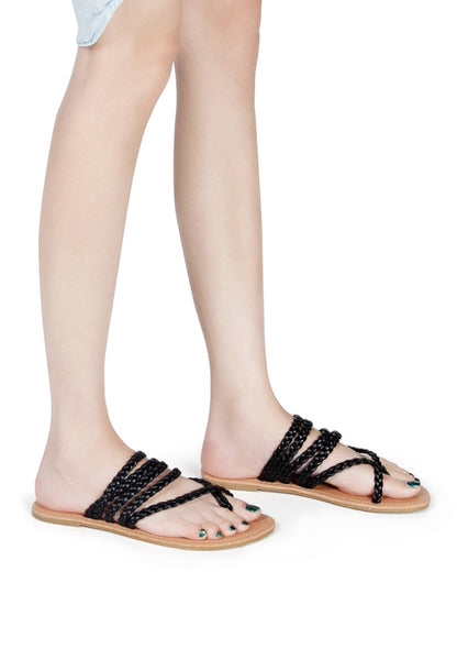 Womens Black Braided Strap Thongs - London Rag India