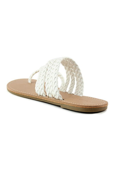 White Braided Strap Thong Flat - London Rag India