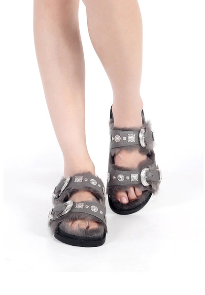 Grey Fur-lined Sandals - London Rag India