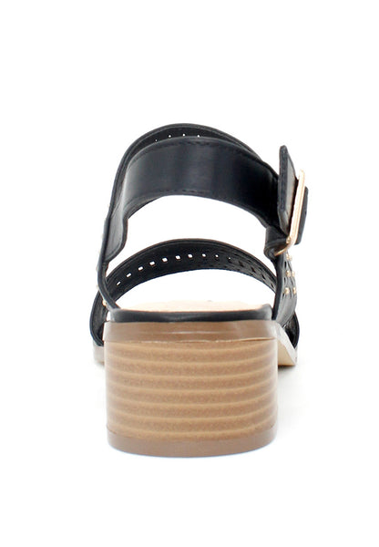 Black Ankle Strap Laser Cut Sandals - London Rag India