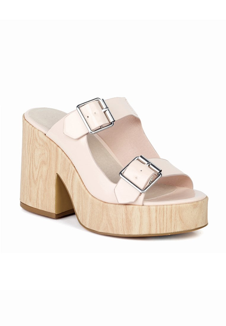 Pink Nude Strap Wedge Sandals - London Rag India