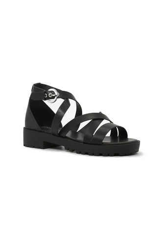 Womens Black Mid Heel Sandals - London Rag India