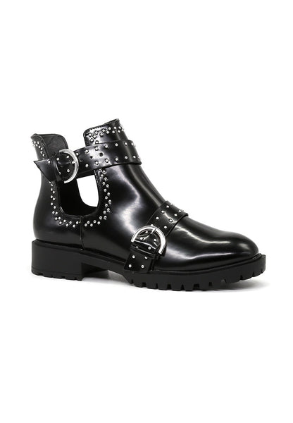 Women's Black Cut Out Studded Boots - London Rag India