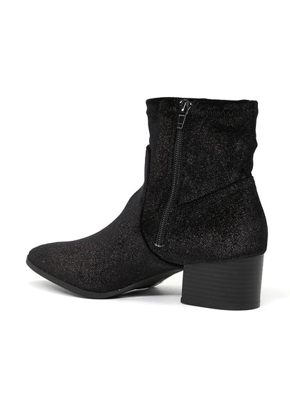 Black Sparkling Glitter Boots - London Rag India