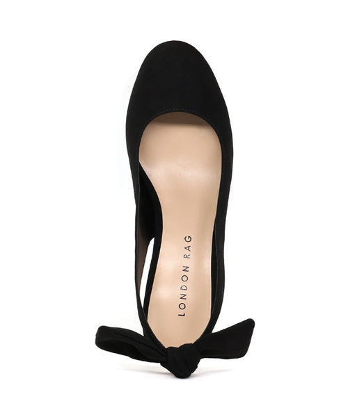 Shirley Black Slingback Round Toe Sandals - London Rag India