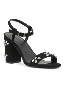 Womens Black Embellished Ankle Strap Peep Toe Sandals - London Rag India